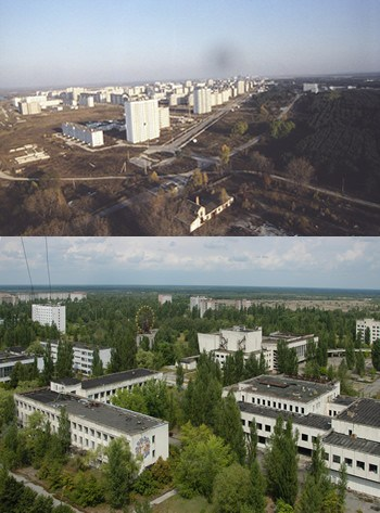 Pripyat Before and After